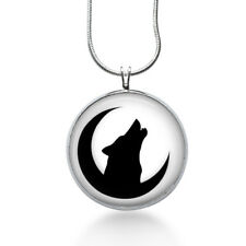 Moon and Wolf Necklace - Animal Pendant - Halloween Jewelry