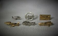 Vintage Lot of 6 Men's Aviation Tie Clips, Cufflinks Accessories