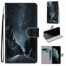 Mountain Road Starry Sky Antislip Flip Wallet Case Back Cover For Various Phone