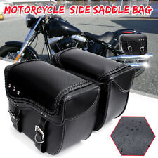 2x PU Leather Universal Motorcycle Side Saddle Bag Saddlebags Luggage Storage