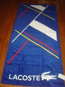 LACOSTE BLUE, WHIE, BLUE, RED & YELLOW BEACH TOWEL 36X72 INCHES