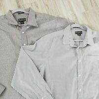 Lot Of 2 Eddie Bauer Mens Size 2XL Long Sleeve Button Down Shirts Wrinkle Free