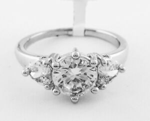 WHITE SAPPHIRE 3.30 Cts RING Silver Plated * NEW WITH TAG * Size 9.75