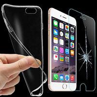 Coque étui Housse Clear TPU + Verre Trempé Film Protecteur Ecran Smart Phone