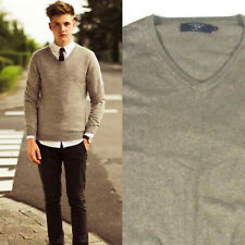 J Crew Sweater Size Medium Mens Cashmere Blend V Neck Tan Brown Long Sleeve bq