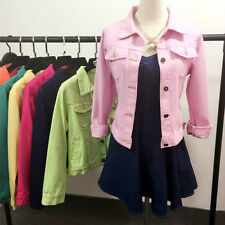 Women Denim Jacket Long Sleeve Button Jeans Slim Cropped Coat 8 Colors Stylish