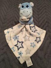 Little Beginnings Blue Hippo Plush Lovey Security Blanket Stars Stuffed Animal