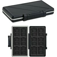 Water-Resistant Memory Card Case Storage Holder fits 12 SD +24 Micro SD TF Cards