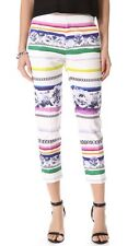Camilla and Marc Illusion Chain Striped Capri Cropped Ankle Pants Trousers