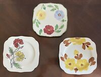 Blue Ridge China Plate Vintage Pottery Square Floral Mid Century Modern 3 Plates