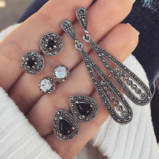 4 Pairs/Set Women Bohemia Long Crystal Earring Retro Black Zircon Stud Earrings