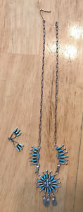 """Zuni Needlepoint Turquoise & Sterling Necklace~17""""~Signed G Etsate & Earrings"""