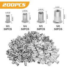 200x Aluminum Rivet Nut Kit Rivnut Thread Insert Nutsert Metric M3 M4 M5 M6 Set