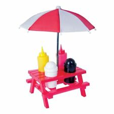 BBQ Sauce Set With Umbrella Condiment Picnic Table Salt Pepper Pub Retro Party