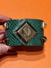 Vince Camuto Green Snakeskin Leather Pyramid Bracelet