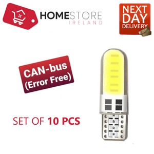 T10 501 W5W Can-Bus 5000K interior WHITE LED 12-SMD bulbs x 10 Pieces