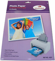 12 SHEETS OF A4 GLOSSY GLOSS FINISH PRINTER PHOTO PAPER HIGH RESOLUTION 230GSM