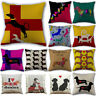 Pillow Cover Cartoon Pillowcase Cotton Linen Dachshund Dogs Cushion Cover Throw