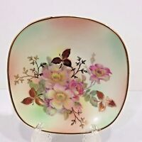 "Vintage Square Dish Bavaria Schumann Arzberg Germany 4.75"" Wild Roses Gold Trim"