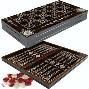 DELUXE Holz Backgammon Tavla Spiel Set GRANADA 38x40 cm (L)