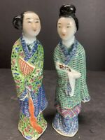 Pair Vtg Chinese Export Girl Woman Lady Porcelain Figurine Statue