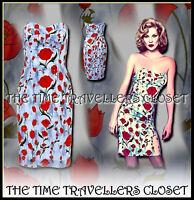 Topshop Kate Moss Poppy Liberty Print Floral Bandeau Dress 50s Rockabilly 6 8