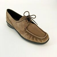 Women's SAS Taupe Brown Leather Suede Moc Toe Oxfords Size 7
