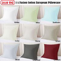 310TC  Tailored European Pillowcase 100% Cotton Percale 65x65cm - 9 color choice