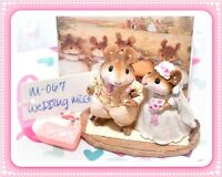 ❤️Wee Forest Folk M-067 Wedding Mice Cream White Retired Mouse Couple 1982❤️