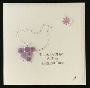 Button & Diamante Personalised Sympathy Thinking Of You Dove Handmade Card 6 x 6