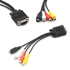 Video Cable Laptop PC HDTV Connector VGA Male to S-Video 3 RCA Jack Converter EP