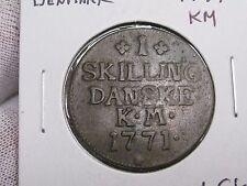 1771 KM Denmark 1 Skilling. KM-616.1. nice middle grade.