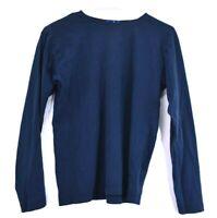 J.Crew Women's Small Long Sleeve Crew Neck Plain T-Shirt Navy Blue