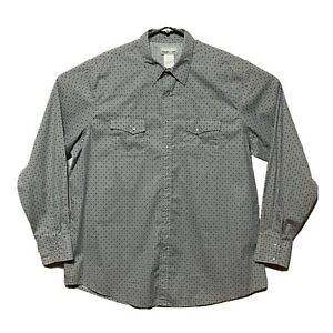 Wrangler Wrancher Shirt Mens 2XT Long Sleeve Pearl Snap Western Gray Diamond