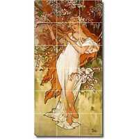 """Art Nouveau Alphonse Mucha Reproduction decorative Ceramic Tile 4.25/"""" #7"""