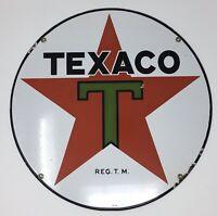 """Vintage Texaco Gasoline Motor Oil Lubester Porcelain Sign Plate Pump 15"""" VG 4-36"""