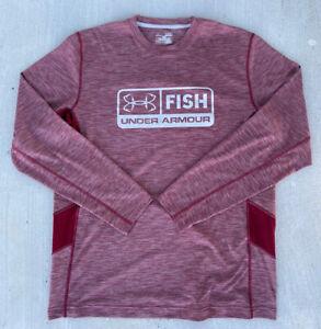Under Armour Fish Heat Gear Loose Size XL Long Sleeve Fishing Shirt Burgundy