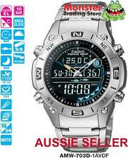CASIO WATCH AMW-703D-1 AMW703 AMW703D FISHING WATCH 12-MONTH WARRANTY