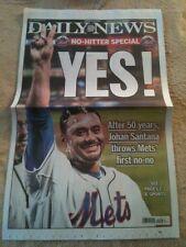 JOHAN SANTANA NY METS  NO HITTER 6/1/12 DAILY NEWS FULL NEWSPAPER 6/2/12 HISTORY
