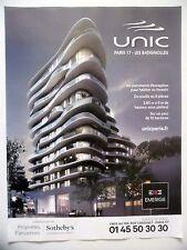 PUBLICITE-ADVERTISING :  UNIC  Paris 17 Batignolles  2016 Immobilier