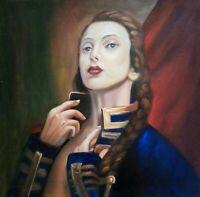 DIE HUSARIN canvas Öl auf Leinwand Gemälde Gr. ca. 33x33 cm
