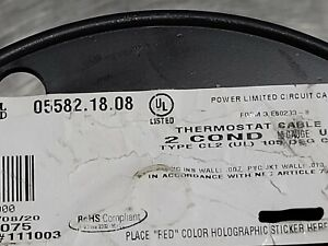 Carol 05582 18/2C 18awg 2 Conductor Solid Thermostat Cable Brown /50ft