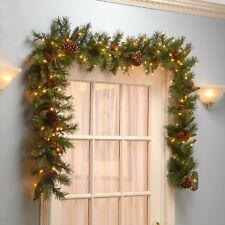 Christmas Garland 9' Pre-lit 50 Clear Electric Lights with Pine Cone Xmas Decor