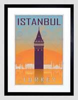 TRAVEL ISTANBUL TURKEY GALATA TOWER BYZANTINE VECTOR FRAMED ART PRINT B12X8576