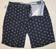 POLO RALPH LAUREN Big and Tall Mens Navy Blue Fish Linen Cotton Shorts NWT 40 T