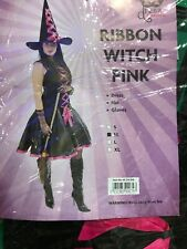 Adult Ladies Pink Ribbon Witch Outfit Halloween Costume Size M 10-12