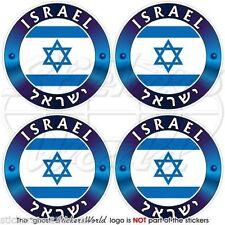 "ISRAEL Israeli, Jewish Hebrew Vinyl Bumper-Helmet Decals, Stickers 2"" (50mm) x4"