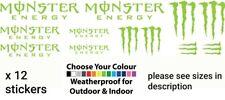 12 X Monster Energy Vinyl Sticker Decal World RX MX Drift JDM JAP Decals