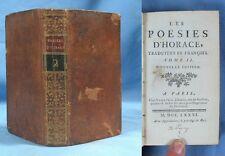 Les POÉSIES d'HORACE / Nyon 1781 / Ex-libris Garnier Ferréol / Latin-Français