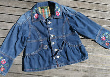 Oilily ✿ Girls Embroidered Flowers Denim Jacket  ✿  116 / Size 5 - 6
